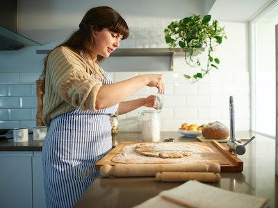 woman making dough