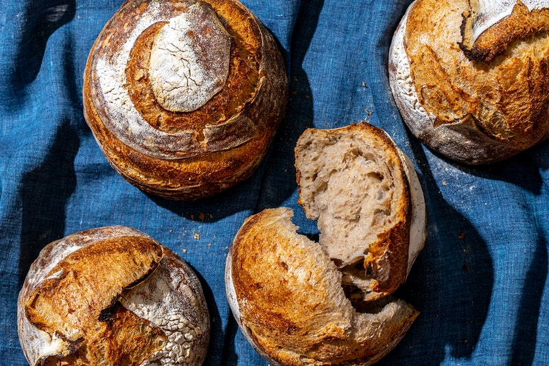 Sourdough bread boules. Sourdough bread is just as healthy as white bread, one study found.