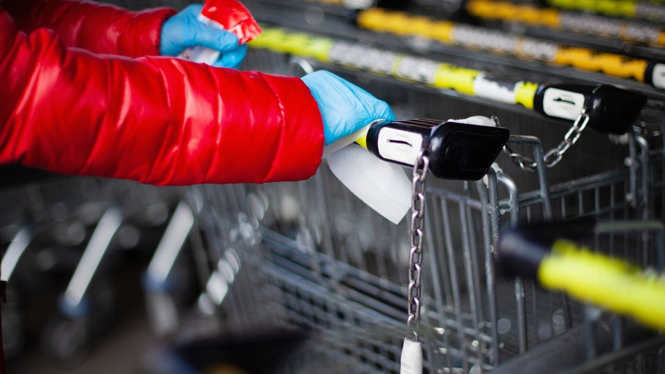 Grocery store employees are urging shoppers not to leave dirty gloves and wipes in grocery carts or parking lots as they present a hazard to those who have to pick them up.