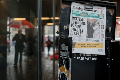 A newspaper shows a headline. Avoiding incendiary or panicky news stories can help anxiety around COVID-19.