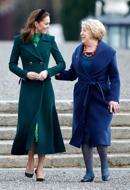 Kate Middleton met the President of Ireland wearing a Catherine Walker coat and Alessandra Rich dress