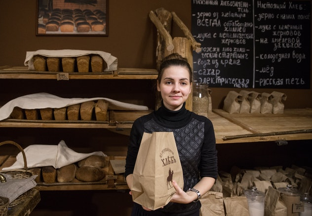 woman working at bakery