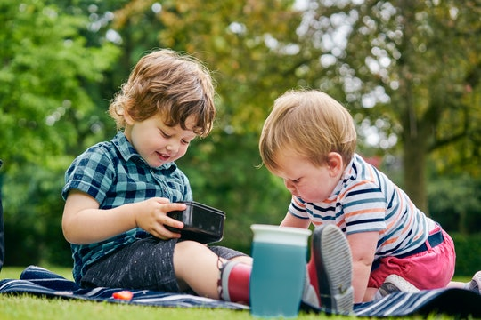 little boys playing outside