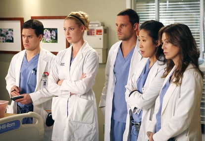 Meredith is the only original Seattle Grace intern remaining on 'Grey's Anatomy' (Pictured: T.R. Knight, Katherine Heigl, Justin Chambers, Sandra Oh, and Ellen Pompeo)