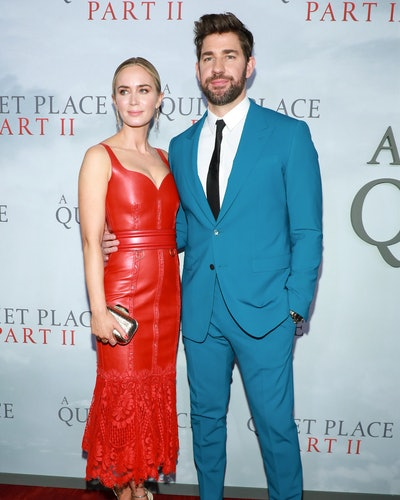 Emily Blunt's makeup and dress at 'The Quiet Place II' premiere.