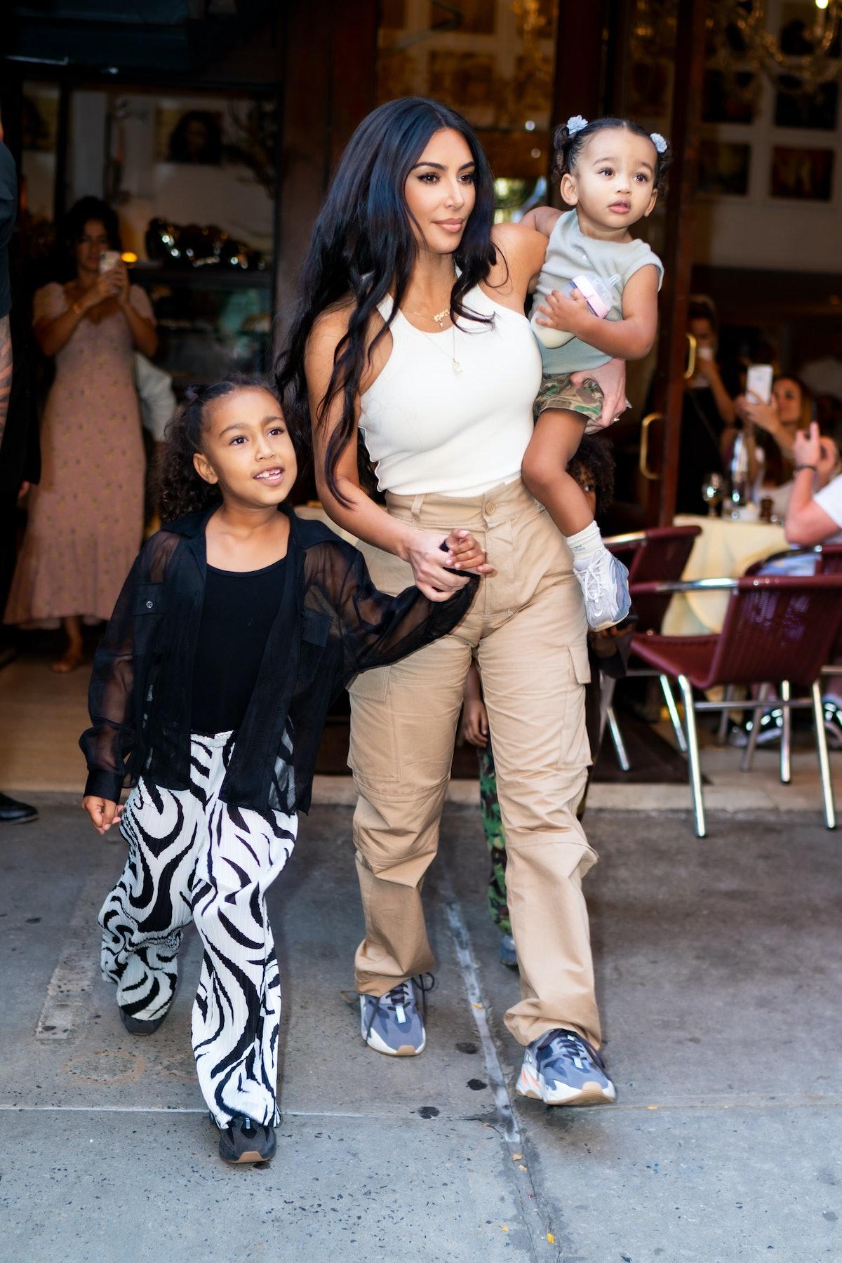 Kim Kardashian steps out with her kids.
