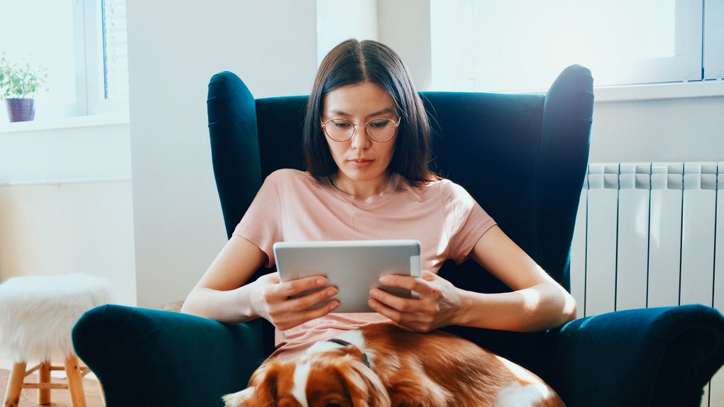 A young woman sits in a chair with her dog on her lap and uses her iPad.