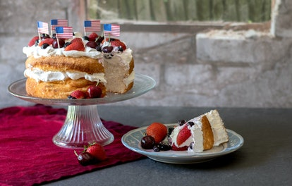 Summer cake topped with fruit and whipped cream is an easy dessert to bake for beginners.
