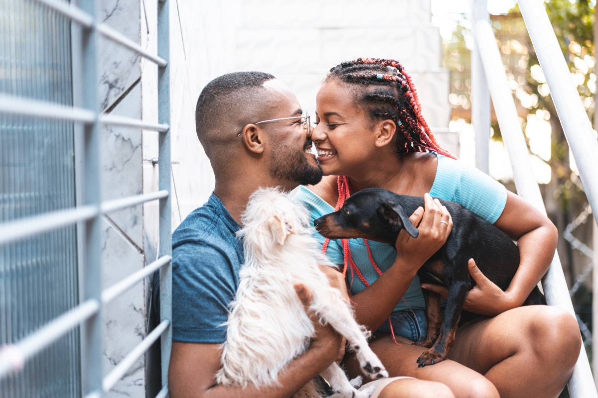 A young couple hangs outside with their two dogs and shares a sweet moment.