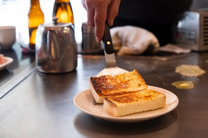 There are simple ingredients for the three-cheese grilled cheese sandwich.