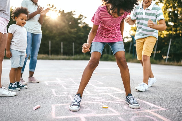 Hopscotch is one game that can be made using sidewalk chalk.