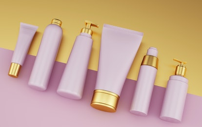 A range of beauty products in a row. Some beauty products may alter menstrual periods, but the evide...