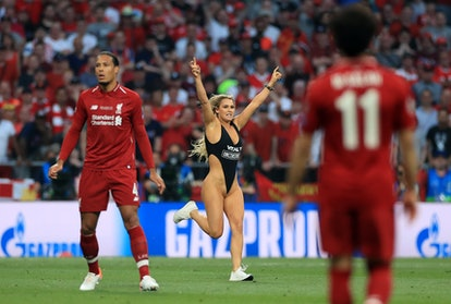 Kinsey Wolanski goes streaking at the 2019 Champions League finals.