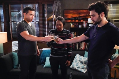 Conrad Ricamora, Aja Naomi King, and Jack Falahee as Oliver, Michaela, and Connor on 'HTGAWM'