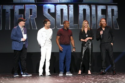 Marvel Studios President Kevin Feige, Sebastian Stan, Anthony Mackie, Emily VanCamp, and Wyatt Russell of 'The Falcon and The Winter Soldier' at Disney's D23 Expo 2019