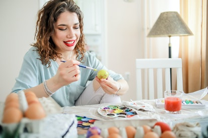 Even adults can take part in egg decorating for Easter.