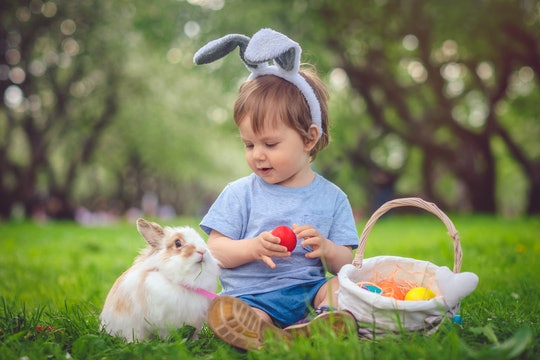 little boy with easter basket and rabbit