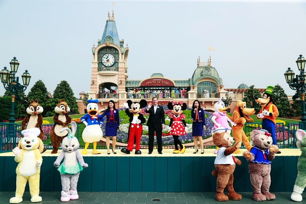 Disney characters welcome guests