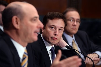 Elon Musk and then-ULA CEO Michael Gass testifying together at a Congressional hearing. It got messy.