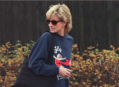 A collection of photos of royals like Princess Diana wearing comfy and casual outfits.