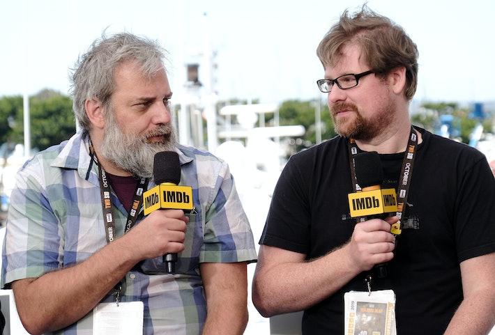 Dan Harmon (à esquerda) com Justin Roiland. Tommaso Boddi / Getty Images Entretenimento / Getty Images