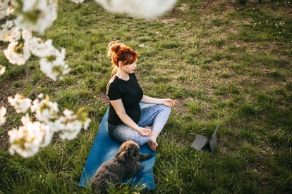 peaceful pregnant woman doing yoga on grass