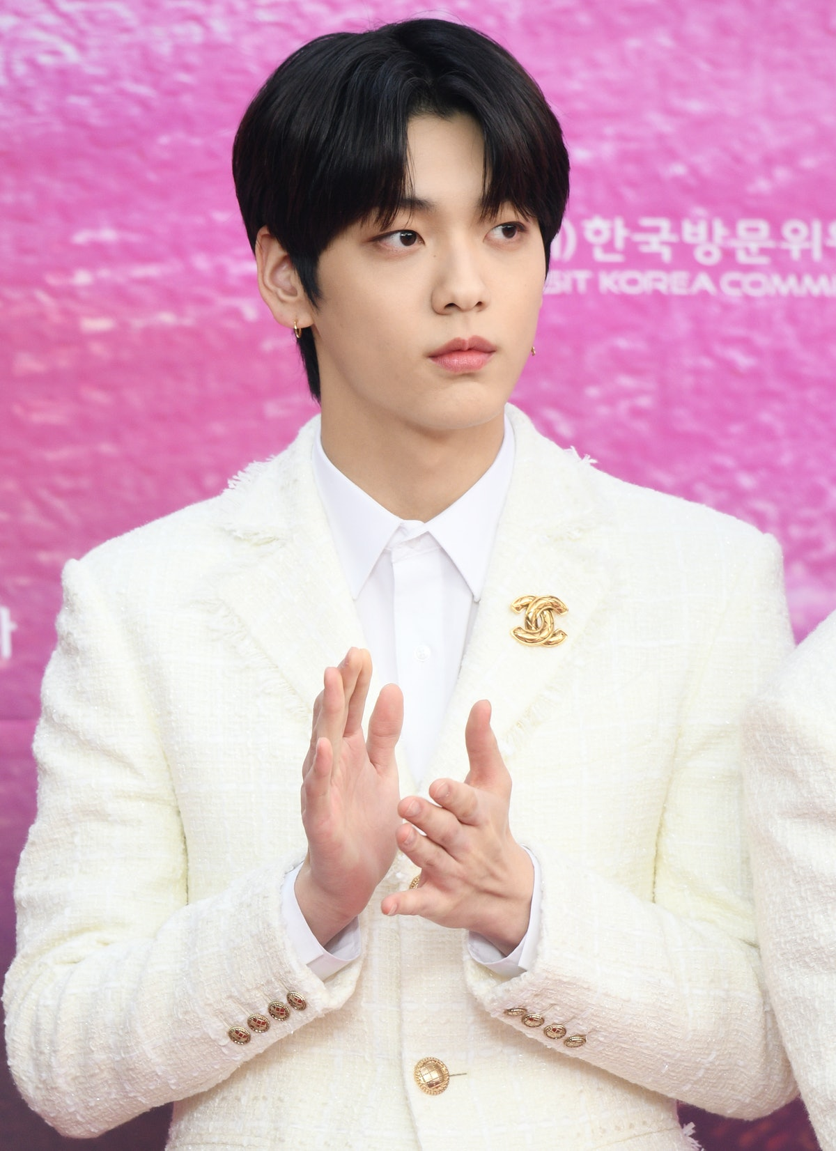 Soobin hits the red carpet with his TXT bandmates.