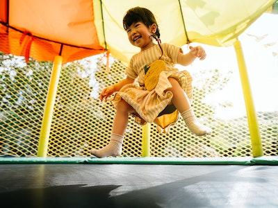 little girl on trampoline