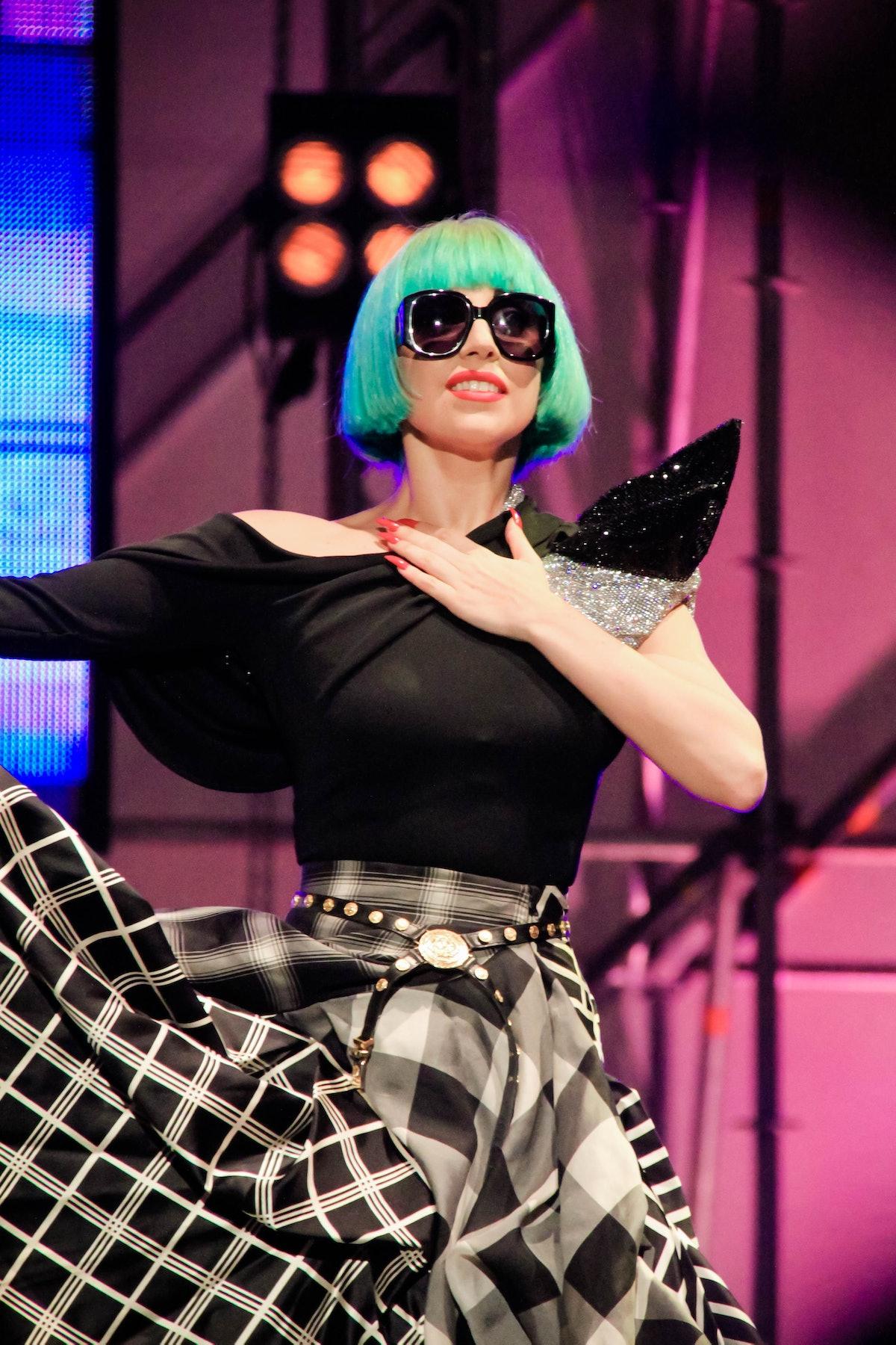 Lady Gaga rocks blue hair.