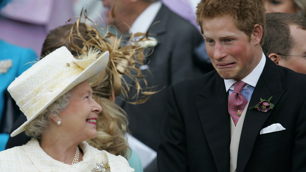 Prince Harry shares a laugh with Queen Elizabeth.