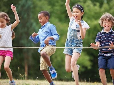 kids having a race at summer camp