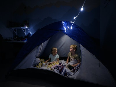 kids camping indoors