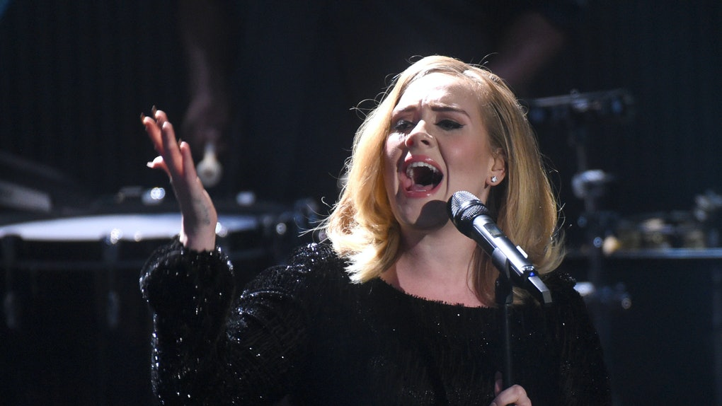 Adele performs live.