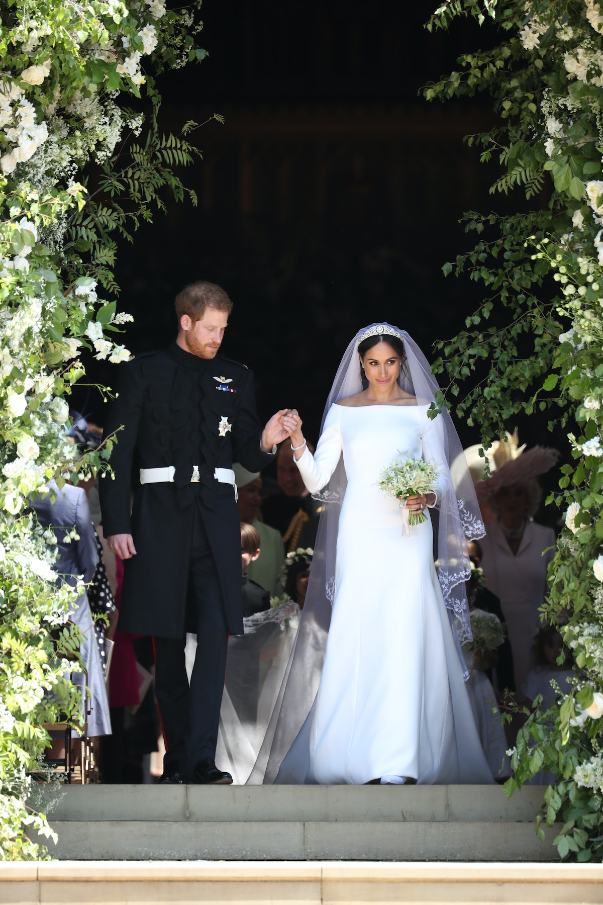 Meghan Markle wore an off-the-shoulder dress Givenchy wedding dress in May 2018.
