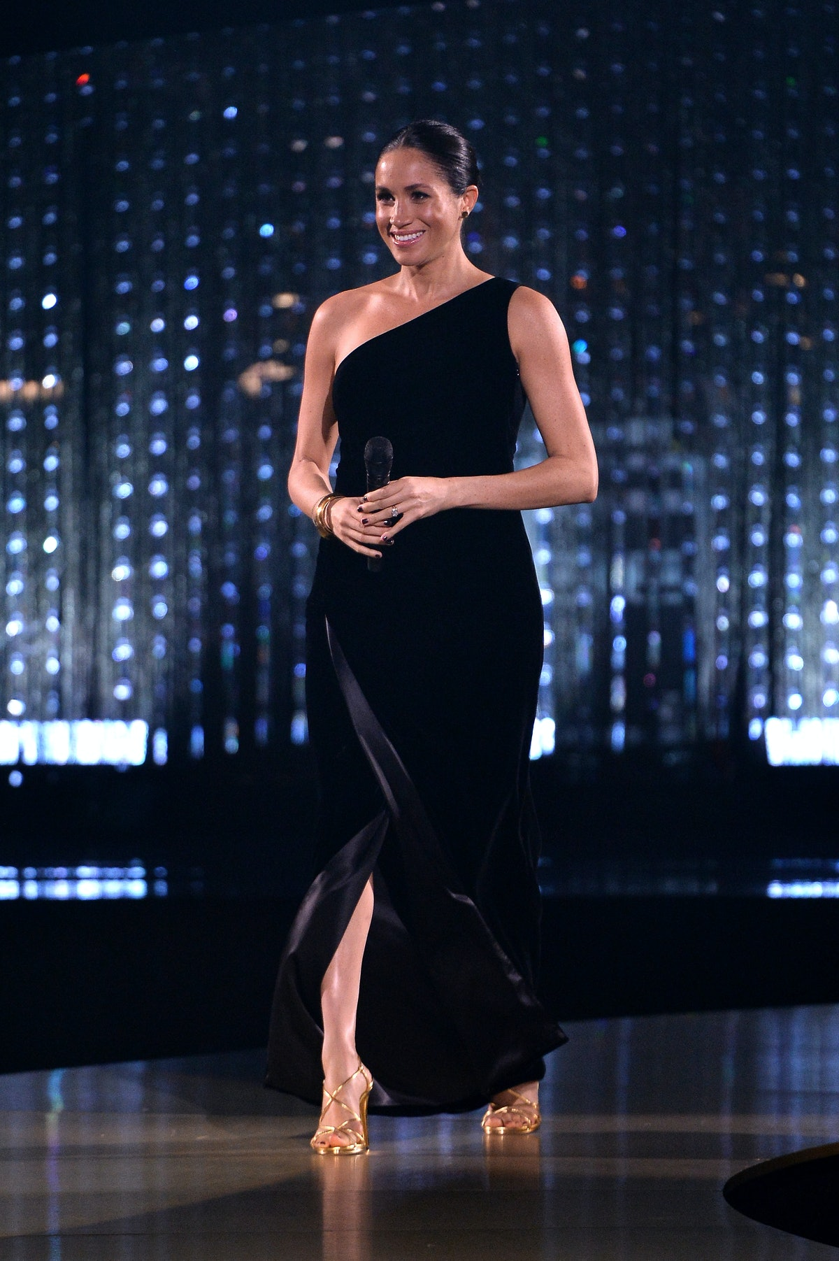 Meghan Markle wore a black one-shoulder Givenchy dress for a the Fashion Awards in December 2018.