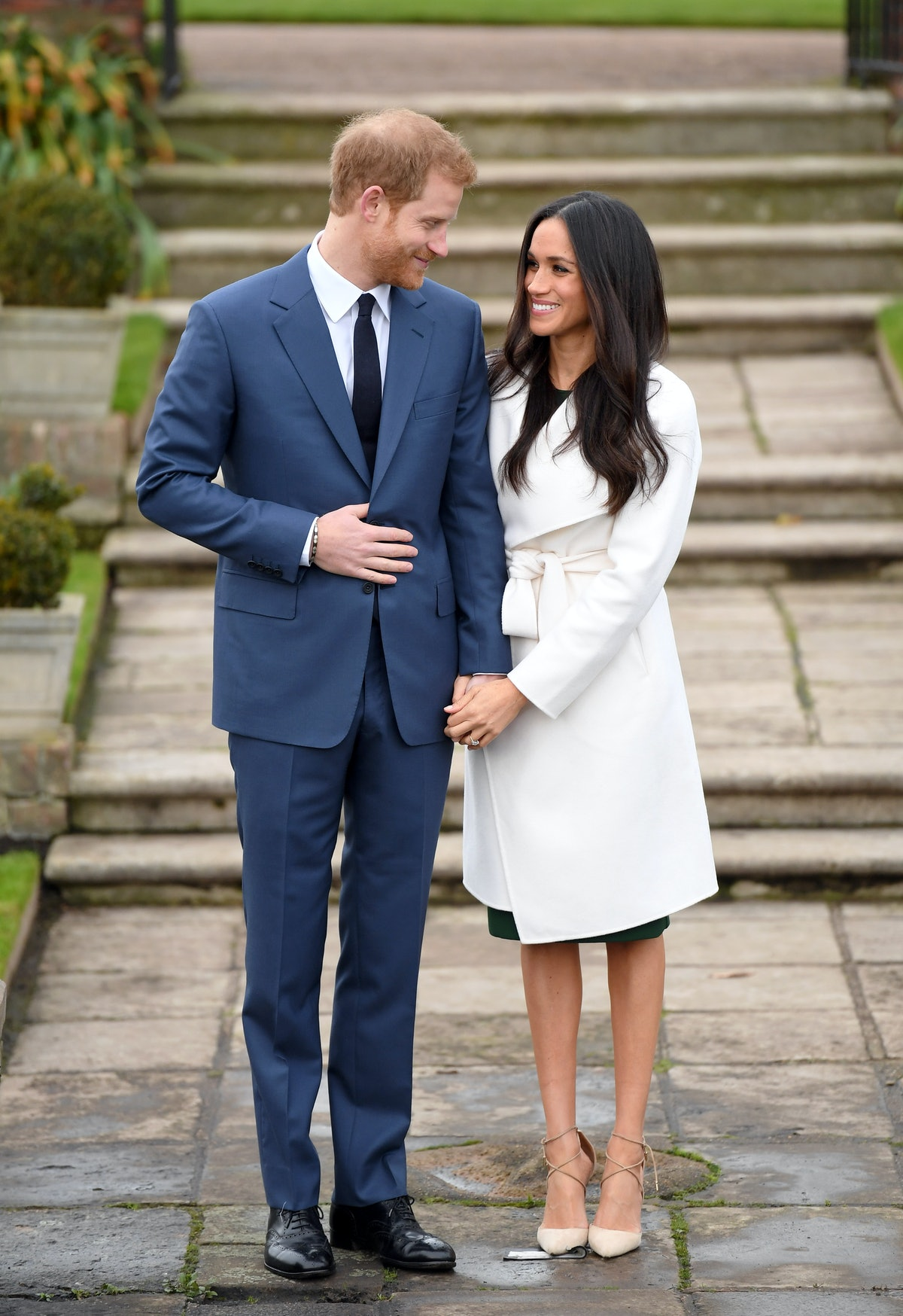 Meghan Markle wore a white wrap coat from Line the Label in Nov. 2017.