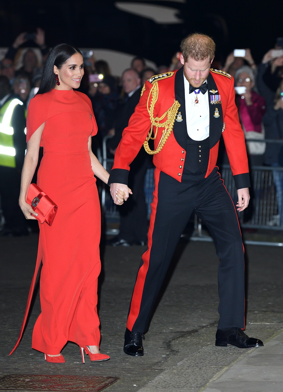 Meghan Markle wore a red dress for the Mountbatten Festival of Music in April 2020.