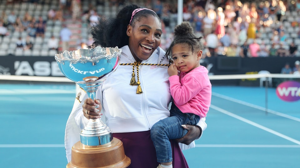 Serena Williams blew off steam with a dance party with daughter Olympia.