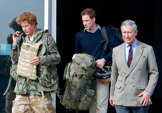 Prince Charles welcomes Prince Harry home from his tour of duty.
