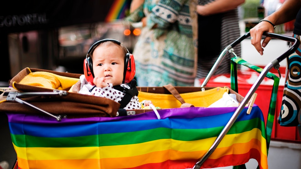 Parents and children have made their support known at pride festivals around the world throughout the years