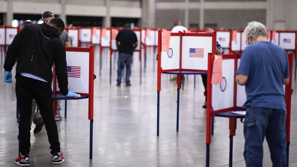 The mom of a first-time voter expressed frustration with election day chaos in Kentucky in an emotional interview shared on Twitter.