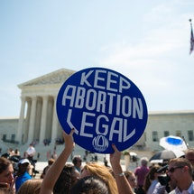 """A button reading """"keep abortion legal"""" in front of the Supreme Court. SCOTUS decided on June Medical Services v. Russo, finding that the Louisiana admitting privileges law was unconstitutional"""