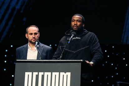 Meek Mill speaks at an event for the Reform Alliance.