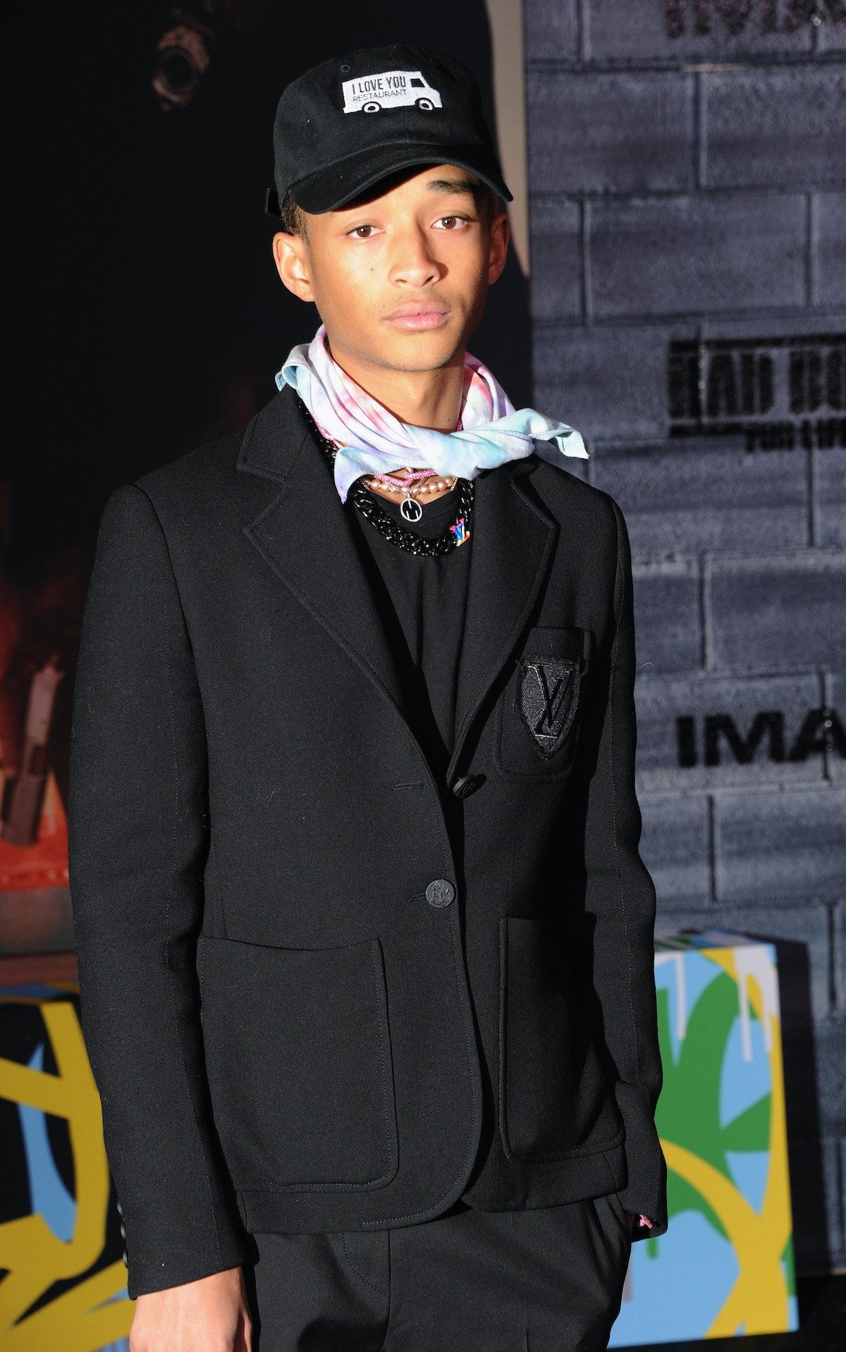 Jaden Smith rocks an all-black look from Louis Vuitton.
