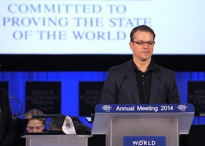 Matt Damon attends a meeting for the World Economic Forum.