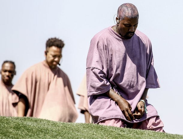 Kanye West performs at Sunday Service.