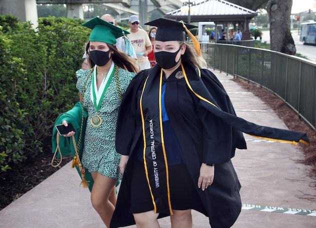 Two college graduates kept it safe for their celebration at Disney World.