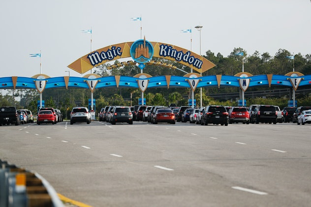 People were lining up to enter Disney World when the park reopened on Saturday.