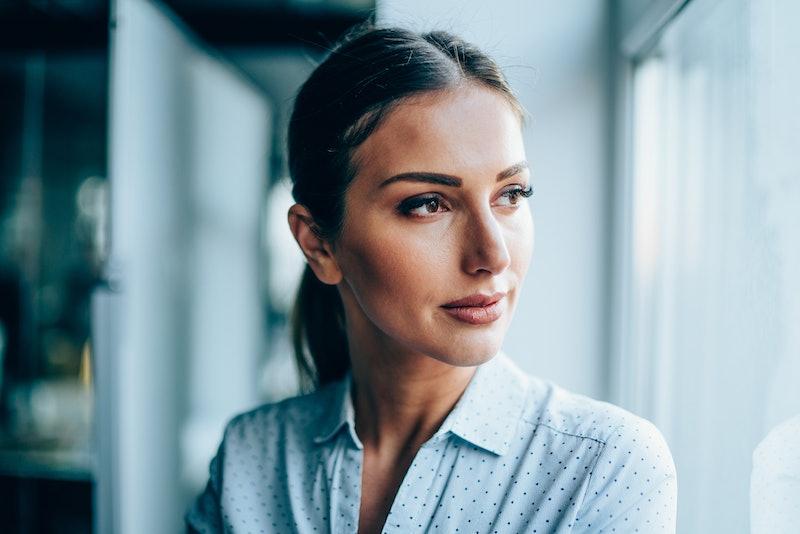 woman, pensive
