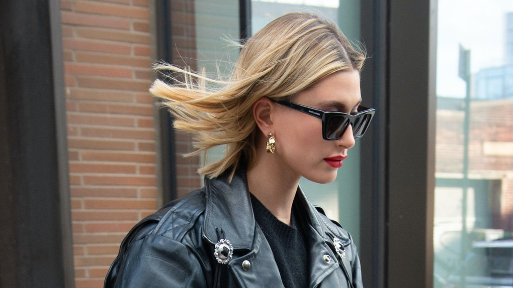 Hailey Baldwin steps out in a chic leather jacket.